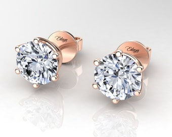 1.00 Carat H,SI Round Cut Diamond Stud Earrings