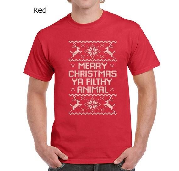 Merry Christmas Ya Filthy Animal Mens Tshirt Mens By
