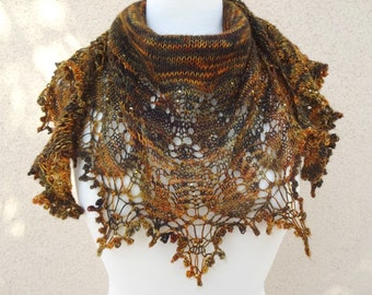 Beaded Lace Bandana, Knit Lace Neckerchief, Lacy Neck Scarf, Crescent Shawlette, Brown Lace Capelet, Brown Lacy Shawl, Beaded Shoulderette