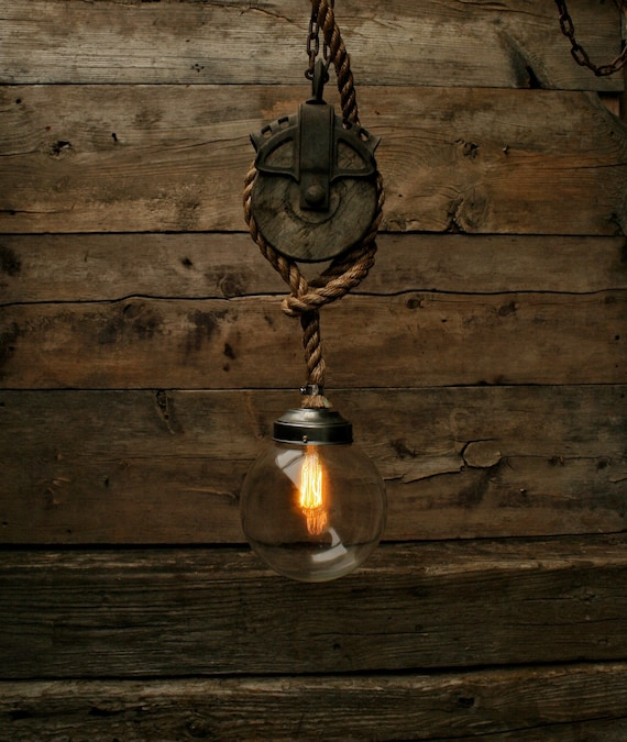 Just Reduced Rustic Handmade 3 Bulb Hanging Light Fixture Or: The Mammoth 2 Pulley Pendant Light Edison Bulb Industrial
