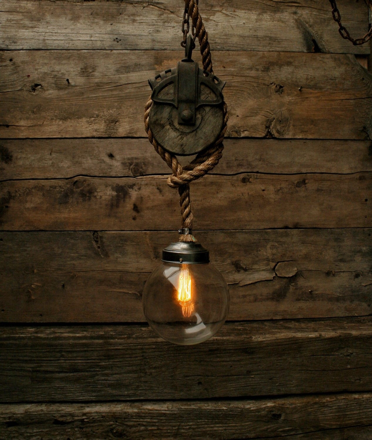 Rustic Industrial Light Steel And Barn Wood Vanity Light: The Mammoth 2 Pulley Pendant Light Edison Bulb Industrial