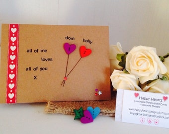 All Of Me Loves All Of You - Personalised Handmade Cards, I Love You Cards - Personalised Valentines Cards