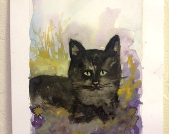ORIGINAL Mysterious cat water color painting