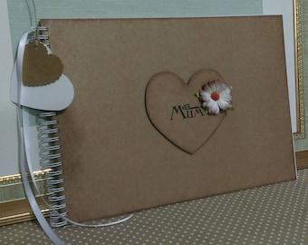Mothers day Rustic vintage style Kraft card scrapbook memory album keepsake book 'Mum'