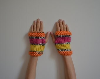Alpaca Colorful Hand Knit Fingerless Gloves, Mittens, Women Accessories