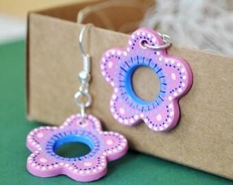 Pink flower / earrings