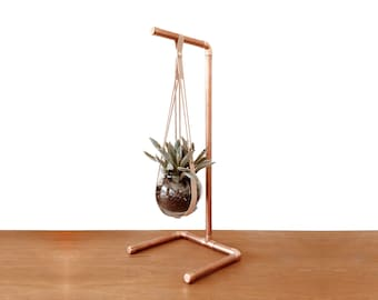 Leather Hanging Pot W/ Copper Stand