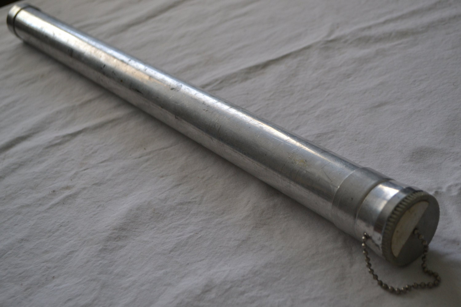 Vintage aluminum fishing fly rod storage tube by for Shipping tubes for fishing rods
