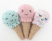 Knitting Pattern - Kawaii Ice Cream Cone Baby Rattle, PDF Knitting Pattern, Baby Shower Gift Idea