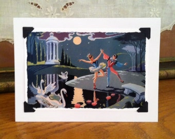 Vintage Paint by Number Blank Greeting Card - Ballet Ballerina Dancers Moonlight Swans Masquerade