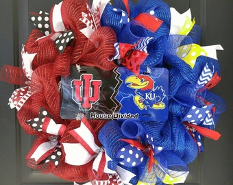 House Divided Wreath; College Teams; Any Team Available