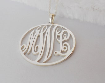 Silver Monogram Circle Necklace,Monogram Initial  Necklace,Vine Monogram Necklace,Custom Name Necklace,Personalized Script Necklace