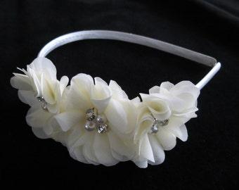 IVORY flower girl chiffon flower headband satin plastic headband toddler flower girl rhinestone pearl wedding pageant Cici's