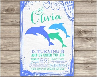 Dolphin Invitations Swirl Swim Party Little Mermaid Silhouette Splash Bash girl Blue Teal Pool Party Invites 7th Under the Sea NV921