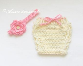 Baby headband and diaper cover,crochet diaper cover,crochet headband,baby girl outfit,infant crochet set,baby girl set,baby girl photo props