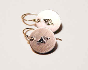 Seashell Earrings Small Hand Stamped