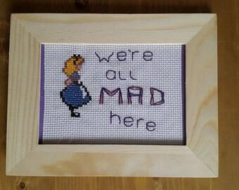 Framed Cross Stitched Alice in Wonderland