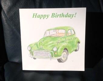 Morris Minor birthday card, green