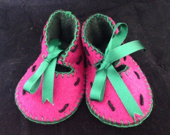 Watermelon. Handmade baby pram shoes age 0 - 3 months