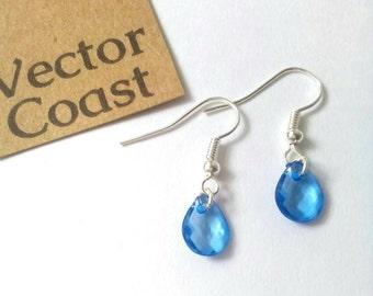 Teardrop Raindrop Earrings, Gift For Her, Blue Earrings, Nature, Water drop, Droplets, Tear Drop Earrings, Sterling Silver Earrings