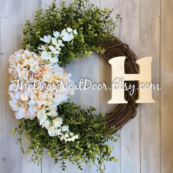 Monogram Front Door Decoration: Cream Hydrangea Wreaths With Wooden Monogram Front Door