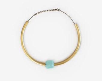 Statement necklace / Choker Mint-gold
