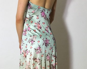 1970s • Alley Cat by Betsey Johnson floral turquoise mint ombré halter top maxi dress