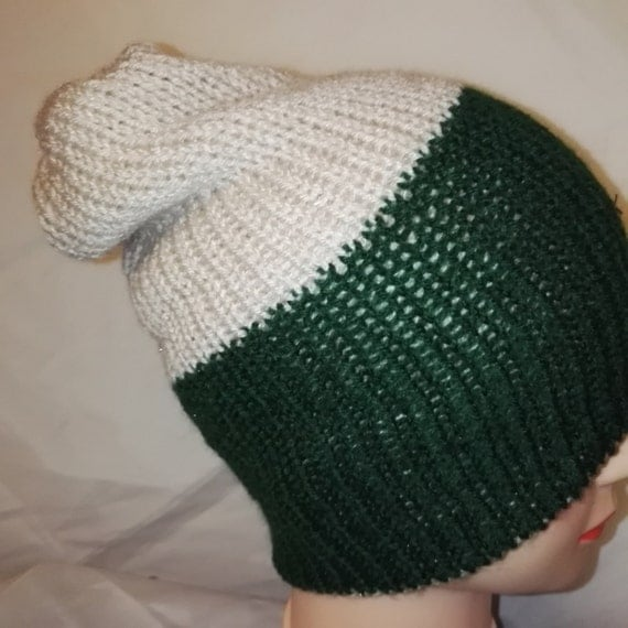 RETRO  green cream colour mix Handmade beanie hat double knit extra thick ski snowboard garden one size unisex wool #retro #gift