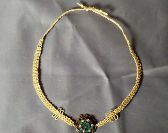 Handmade Macrame Choker Necklace with Vintaqe Costume Jewelry Center
