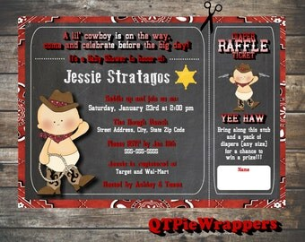 Printable Lil Buckaroo Baby Shower Invitations Personalized Western Theme Cowboy attached Raffle Ticket