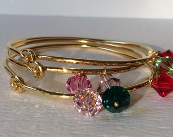 Gold hammered bracelet - Hammered gold cuff bracelet - Gold bangle bracelet - Thin gold cuff - Bracelet with birthstones