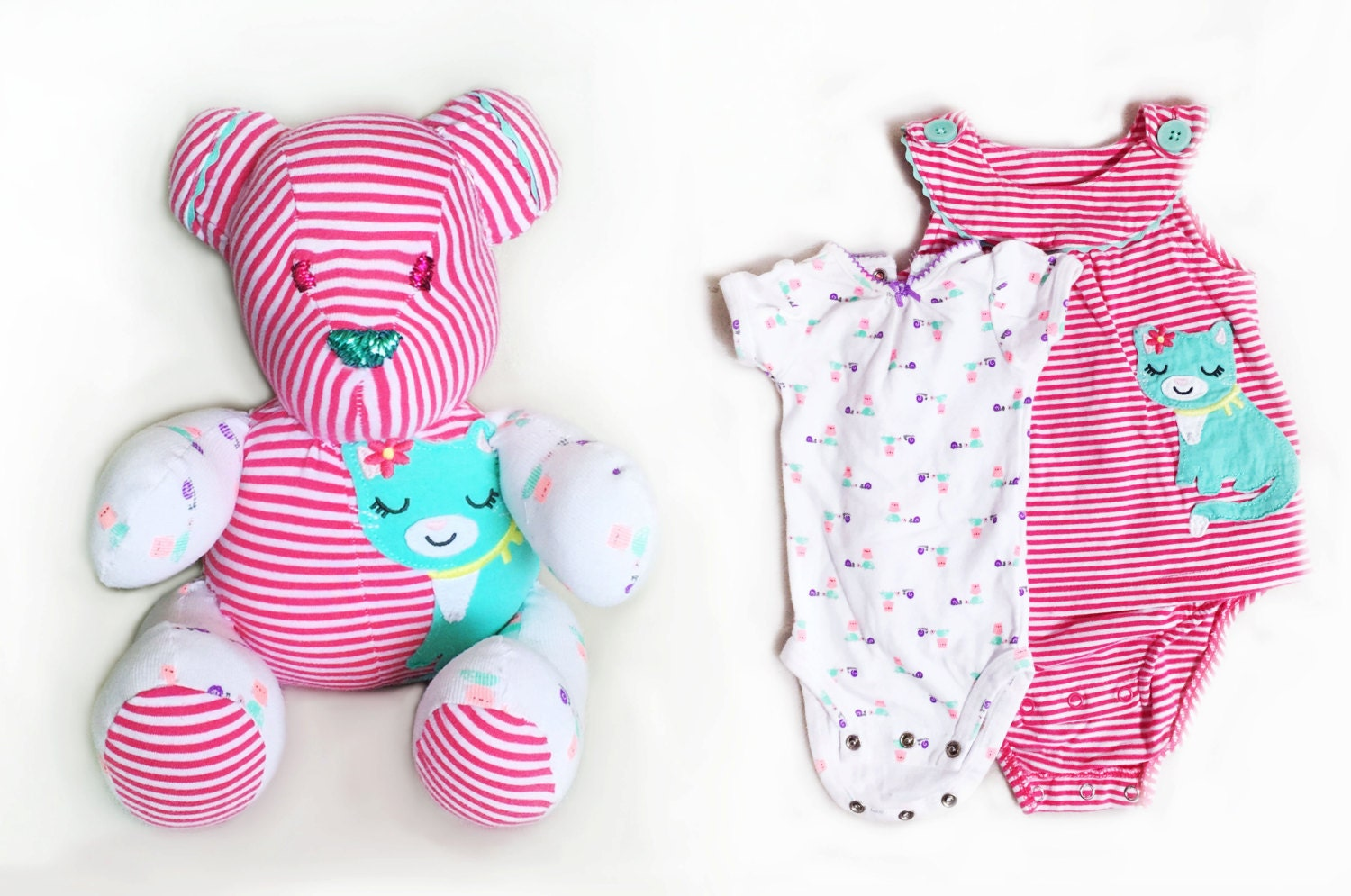 make teddy bear from baby clothes Upcycled Bear by ...