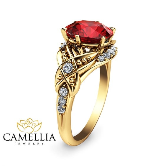 unique ruby engagement ring 14k yellow gold ruby ring