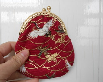 Crane Pattern Coin Bag with Gold Frame