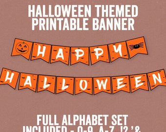 Halloween Printable Banner, Full Alphabet, Any phrase, DIY banner orange halloween, bunting diy alphabet, happy halloween party decor diy