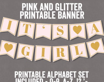 Printable Pink and Glitter Banner, Baby shower bunting, diy bunting printables, alphabet banner, pink party printable, happy birthday S3E2
