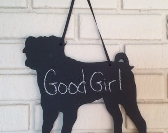 Pug Chalkboard Dog Wall Hanging - Handmade Animal Chalkboard Shadow Silhouette - Country Decoration - Great Gift