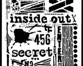 Stencil Girl Inside Out Stencil, Artist Seth Apter 6 x 6 inches stencil, Graffiti art Stencil, Art journal stencil, reusable art stencil,