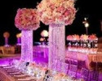 "36"" Glamorous Column Enchanted Chandelier Centerpiece for Special Occasion Wedding Table"
