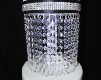 Diamond Drop Acrylic Crystal Cake Stand with LED Light