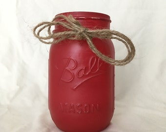 Red, Distressed, Painted, Mason Jar