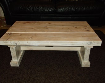 Chunky, heavy, solid driftwood reclaimed coffee table 80 x 46 cms