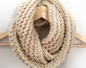 MADE TO ORDER. Infinity scarf - Cowl - Snood -Circle scarf -  Knitted scarf - Beige scarf.
