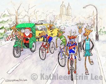 Running Reindeer Cards, Set of 10