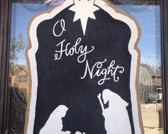 Hand-Painted Burlap O Holy Night Silhouette Nativity Door Hanger