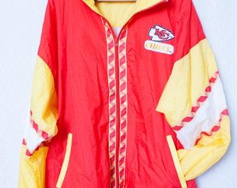 Men's 80s KC Windbreaker, Large 80s Kansas Chiefs Orange & Red Windbreaker, NFL 90s Chiefs Windbreaker,  XL Chiefs Windbreaker