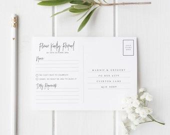 Wedding RSVP Postcard - Printable Minimal Design