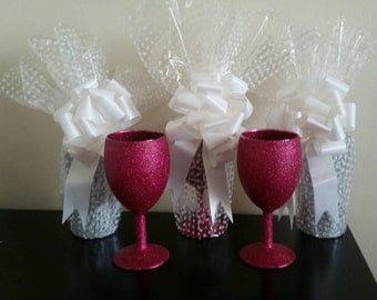 Glitter Glass Small Wine Glasses, Hen Do, Party, Gift Wrapped