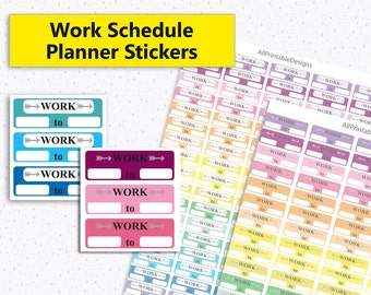 Planner Stickers, Work Stickers Planner Printable, Work Schedule Stickers, Printable Planner Stickers, Work Schedule, MAMBI Happy