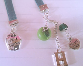 Gifts for Teachers, 'No. 1 Teacher' Bookmark, Teachers Gift, Teachers Bookmark, Ribbon Bookmark, End of School Gifts, Bookmark with Charms.